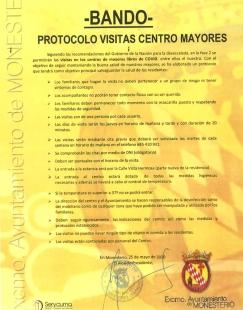 El Ayuntamiento de Monesterio publica el protocolo de visitas al Centro de Mayores