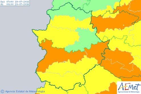 Alerta amarilla por altas temperaturas en el sur de Badajoz para hoy martes