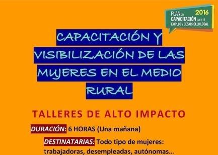 Cambio de fecha del Taller de ''Capacitación y visibilización de las mujeres en el medio rural''