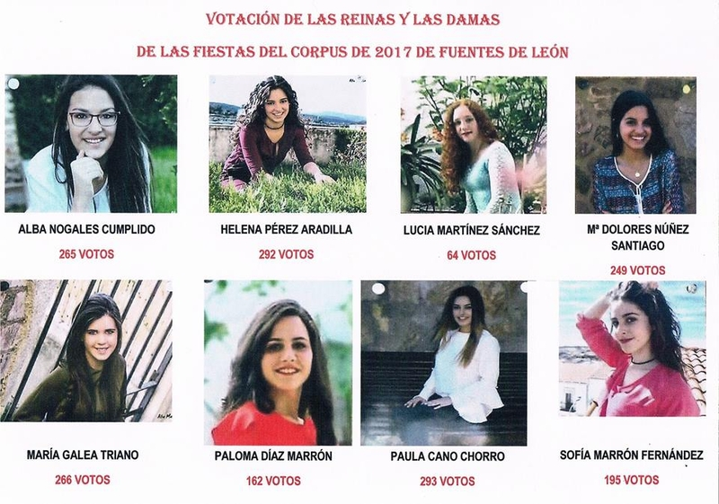Conocidas la Reina y Damas del Corpus 2017 en Fuentes de León