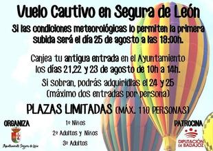 Nueva fecha para celebrar el ''Vuelo Cautivo'' en Segura de León
