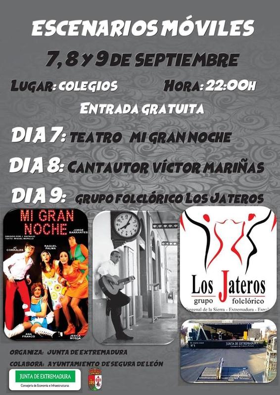 Los Escenarios Móviles llegarán a Segura de León durante los días 7, 8 y 9 de septiembre