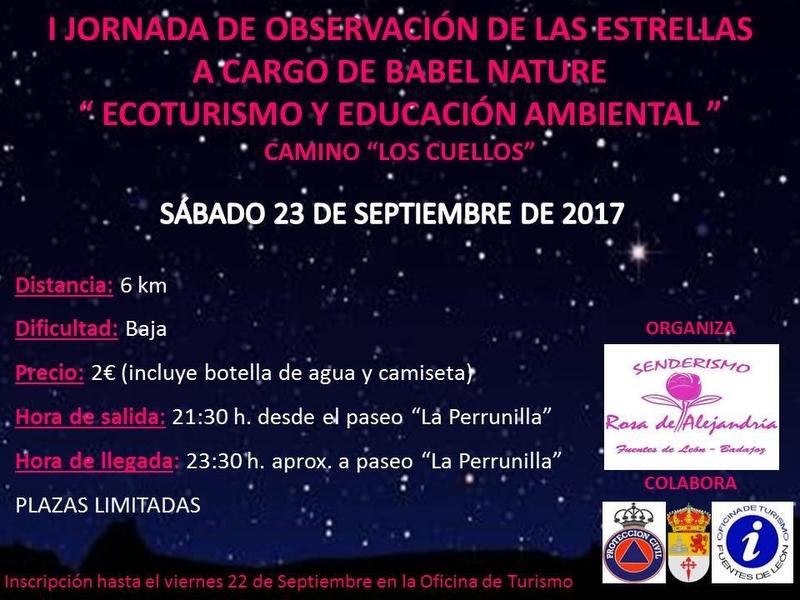"""I Jornada de Observación de las Estrellas """"Ecoturismo y Educación Ambiental"""" en Fuentes de León"""