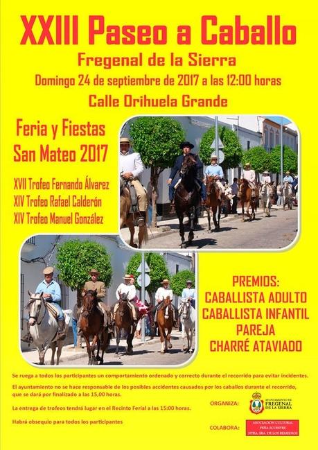 Fregenal de la Sierra celebrará su XXIII Paseo de Caballo durante la Feria y Fiestas de San Mateo