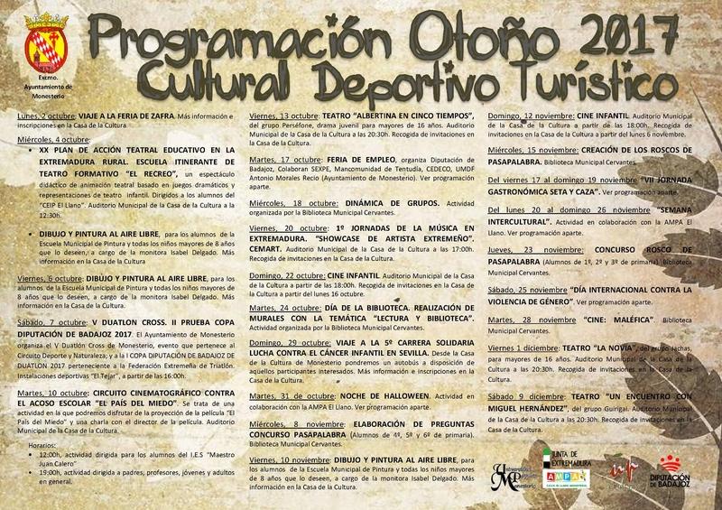Monesterio presenta la  programación para su ''Otoño Deportivo, Cultural y Turístico''