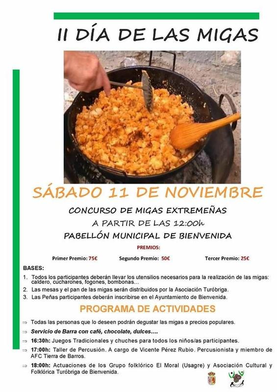 El ''II Día de las Migas'' de Bienvenida se celebrará el próximo mes de noviembre
