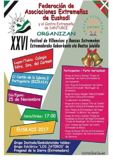 'Los Jateros' de Fregenal de la Sierra, grupo invitado del Festival de Danzas de las asociaciones extremeñas de Euskadi
