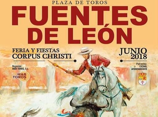 Cartel de la novillada mixta con picadores en Fuentes de León durante el Corpus Christi
