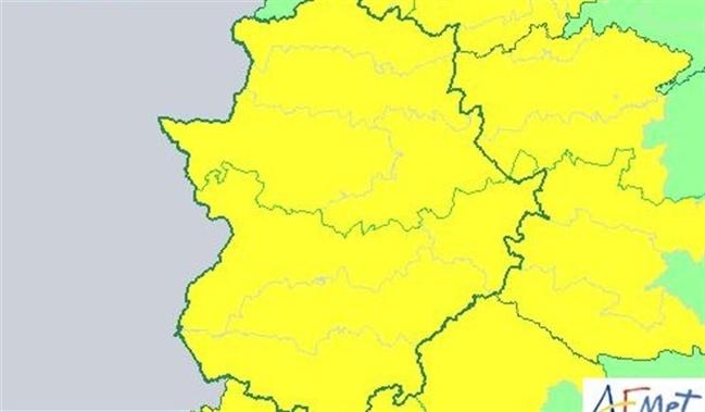 Alerta amarilla por tormentas en toda Extremadura este viernes