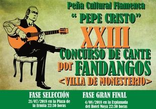 La Peña Cultural Flamenca `Pepe Cristo´ organiza el XXIII Concurso de Cante por Fandagos `Villa de Monesterio´