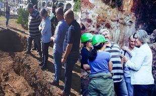 Leire Iglesias visitó la fosa de la Guerra Civil y el Campo de Voluntariado en Fuentes de León