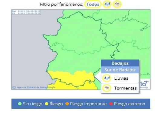 Alerta por lluvias y tormentas en la comarca a partir de las 14:00h de este lunes