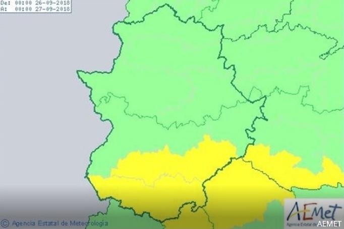 Alerta amarilla por tormentas en el sur de la provincia de Badajoz este miércoles
