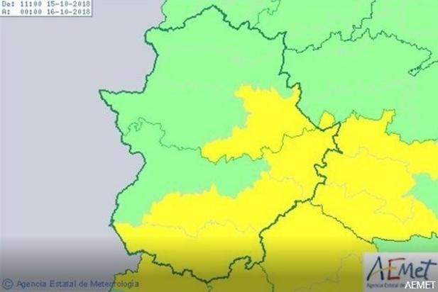 Activada la alerta amarilla por lluvias este lunes en diversas zonas de Extremadura