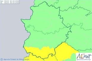 El sur de la provincia de Badajoz permanecerá en alerta amarilla por lluvias este jueves