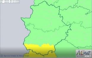 Activada la alerta amarilla por lluvias en la Comarca de Tentudía y todo el sur de Badajoz