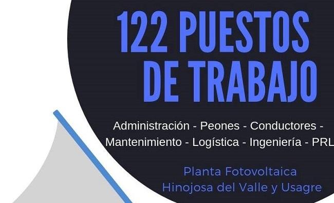 La Planta Fotovoltaica de Hinojosa del Valle y Usagre OFERTA 122 PUESTOS DE TRABAJO