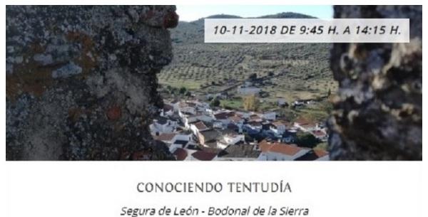 Aplazada la actividad `Conociendo Tentudía´ que se iba a celebrar en Segura de León y Bodonal de la Sierra