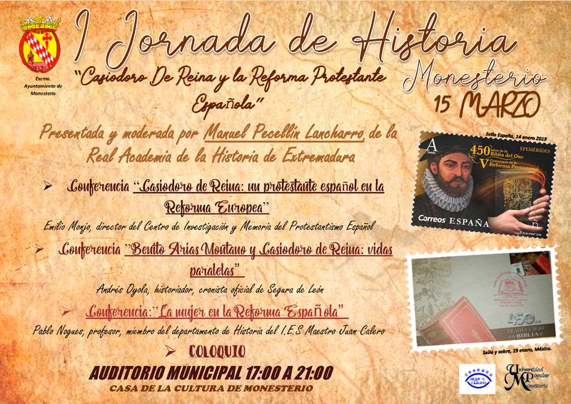 La I Jornada de la Historia en Monesterio tratará sobre la Reforma Protestante Española