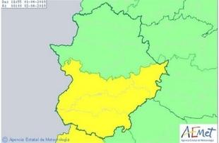 La provincia de Badajoz permanece este lunes en alerta amarilla por tormentas