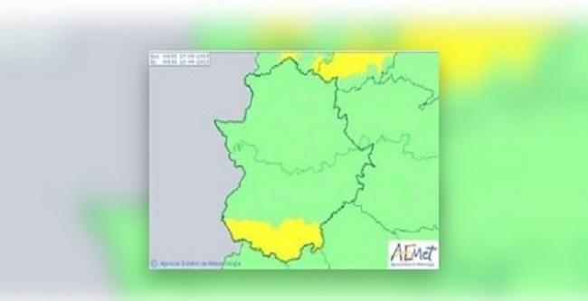 El sur de la provincia de Badajoz permanecerá este miércoles en aviso amarillo por viento de hasta 70 kilómetros