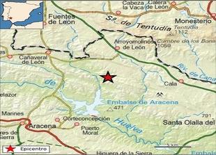 Sentido en la comarca de Tentudía un terremoto con epicentro en Arroyomolinos de León esta noche