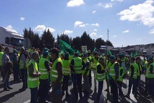 Unas 260 personas de toda la comarca se han concentrado en Fregenal de la Sierra en protesta por la situación del campo extremeño