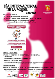 Monesterio conmemorará el Día Internacional de la Mujer la próxima semana