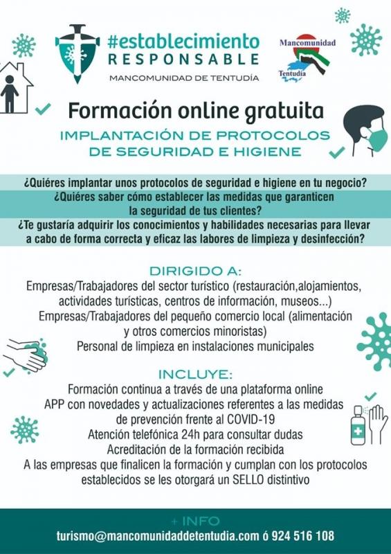 La Mancomunidad ofrece formación online gratuita para implantar protocolos en establecimientos de Tentudía