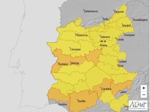 Alerta amarilla por altas temperaturas mañana sábado en el sur de la provincia de Badajoz
