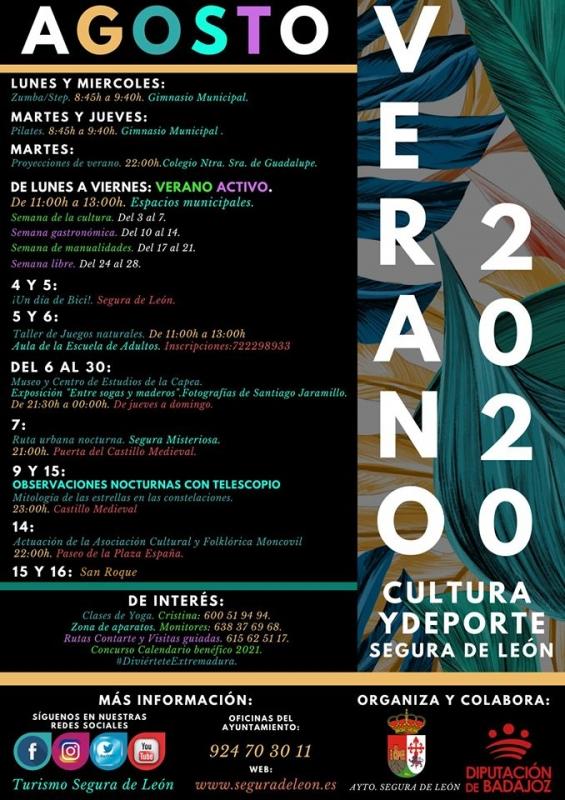 Segura de León presenta su programa de actividades y eventos del mes de agosto