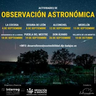 Segura de León será una de las sedes de las Jornadas de Observación Astronómica organizadas por la Diputación de Badajoz