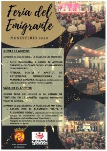 Monesterio celebra esta semana la Feria del Emigrante 2020 adaptada a la nueva normalidad