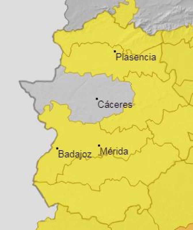 Toda la provincia de Badajoz estará este miércoles en alerta amarilla por altas temperaturas