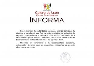 Calera de León reabre sus servicios e instalaciones municipales al estar controlada la situación