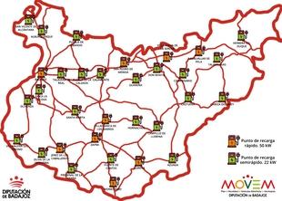 Comienzan los trabajos de instalación de puntos de recarga para vehículos eléctricos que se situarán en Monesterio, Fuente de Cantos y Fregenal