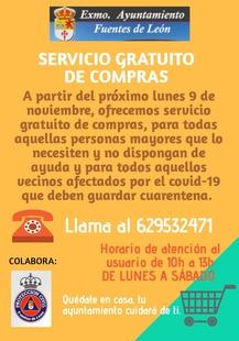 Se pone en marcha de nuevo en Fuentes de León el servicio gratuito de compras para quienes lo necesiten