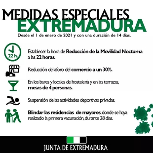 El día de Nochevieja deja 936 nuevos positivos en Extremadura, el peor dato en todo lo que llevamos de pandemia
