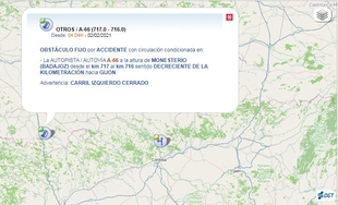 Obstáculo fijo por accidente en la A-66 a la altura de Monesterio en la mañana de hoy