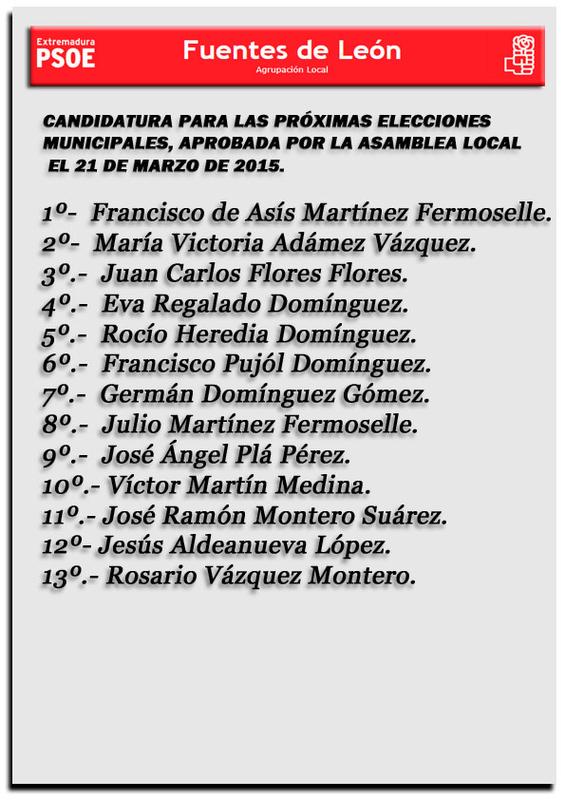 El PSOE de Fuentes de León presenta la lista para su candidatura a las próximas elecciones municipales