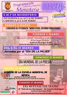Monesterio presenta una amplia programación cultural y deportiva para el mes de marzo