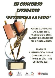 Convocado el III Concurso Literario `Petronila Lavado´ en Cabeza la Vaca