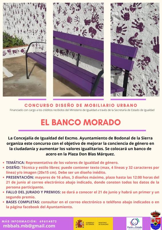 Concurso de diseño de mobiliario urbano `El Banco Morado´ en Bodonal de la Sierra