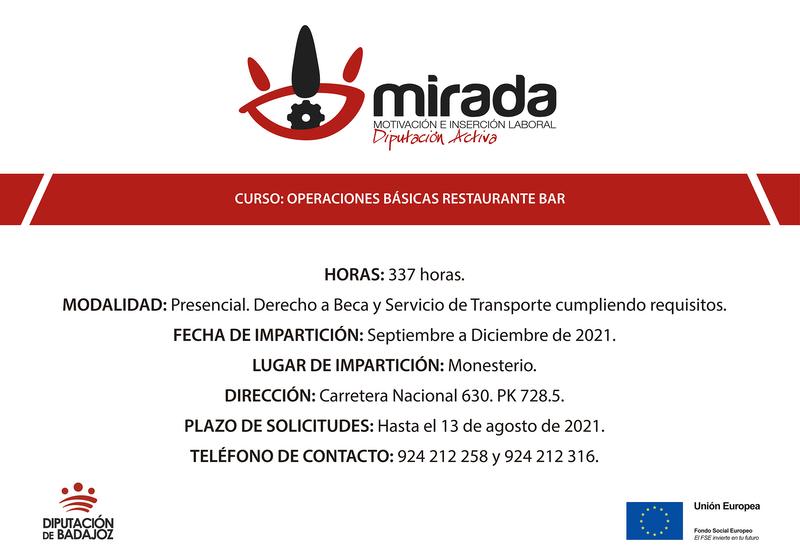 Las inscripciones al Curso de Operaciones básicas de Restaurante-Bar en Monesterio se extienden hasta el 13 de agosto