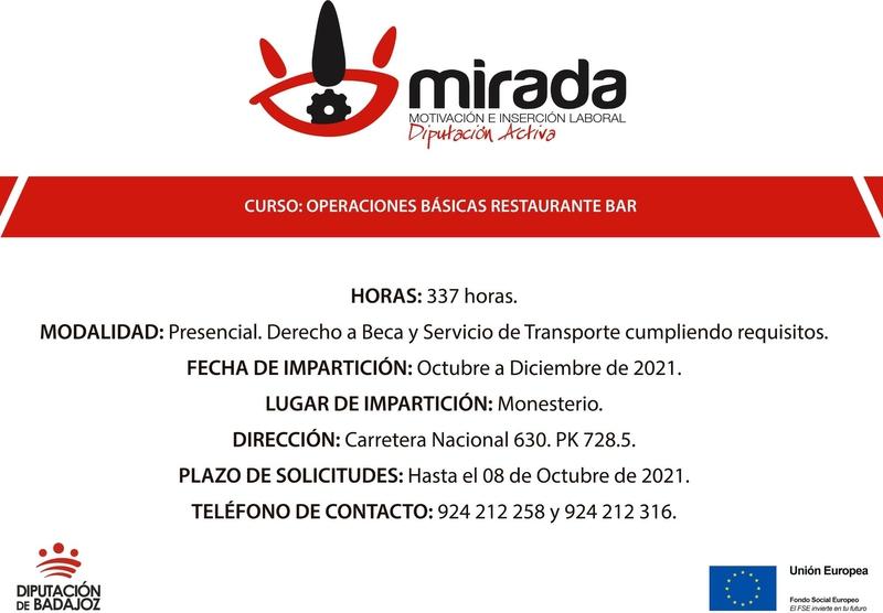 Ampliado el plazo de solicitudes para la acción formativa de `Operaciones básicas de Restaurante-Bar´ en Monesterio