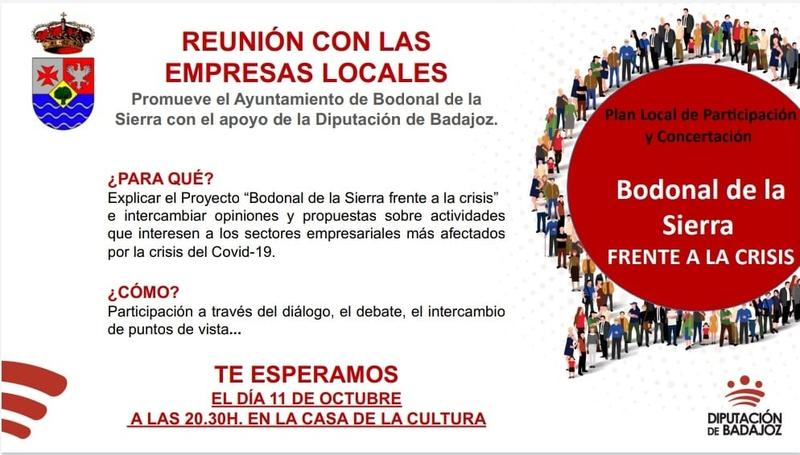 El proyecto `Bodonal de la Sierra frente a la crisis´ se presentará a los empresarios locales el próximo lunes